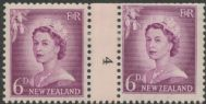NZ Counter Coil Pair SG 750 1955-59 6d Queen Elizabeth II Join No. 4 (NCC/262)